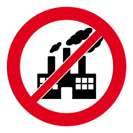 no nuclear: No factory symbol on white background. Vector illustration. Illustration