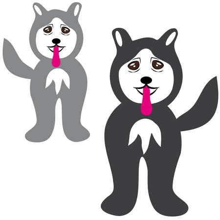 Husky dogs on white background. Vector illustration.