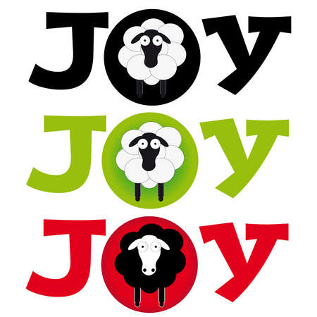 Sheep with text joy on white background. Vector illustration. Illustration