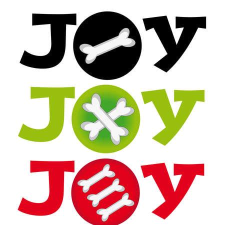 Dog bone with text joy on white background. Vector illustration. Illustration
