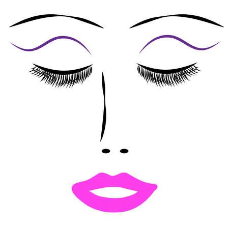 Femmes yeux avec la bouche sur fond blanc. Illustration vectorielle. Banque d'images - 75149103