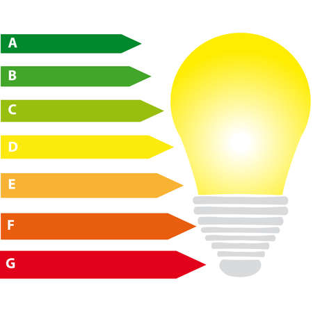 Energy labels with bulb  on white background. Vector illustration. Illustration