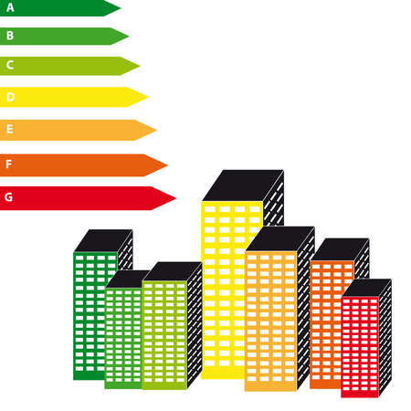 Energy labels with skyscrapers on white background. Vector illustration.
