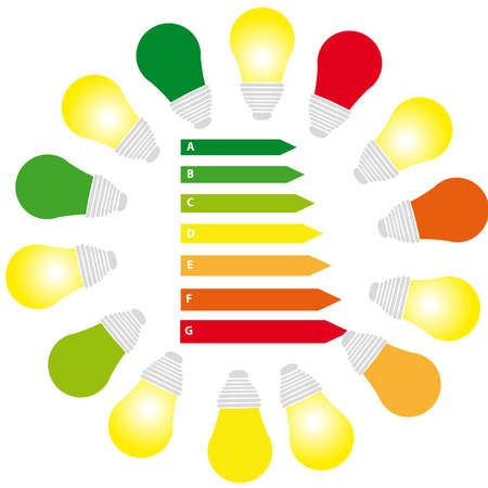 Energy labels with bulbs on white background. Vector illustration.