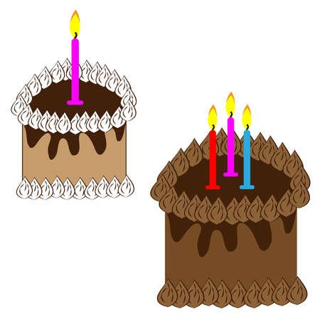 Chocolate cake on white background. Vector illustartion. Illustration