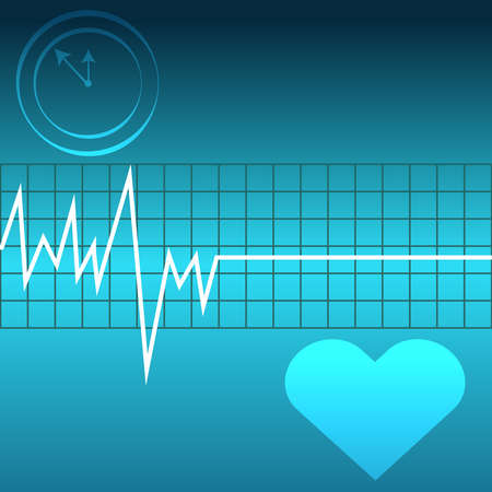 Ecg with heart and clock on blue background. Vector illustartion Illustration