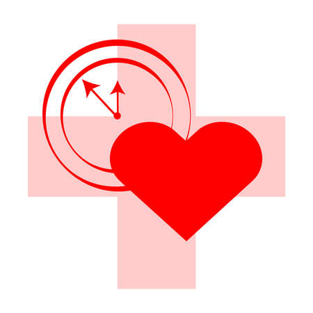 Cross with heart and clock on red background. Vector illustartion