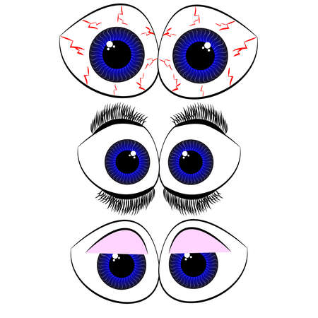Set of eyes on white background. Vector illustration. Illustration