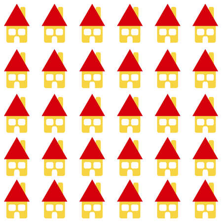 building site: Home with red roof on white background. Housing. Vector illustration. Illustration