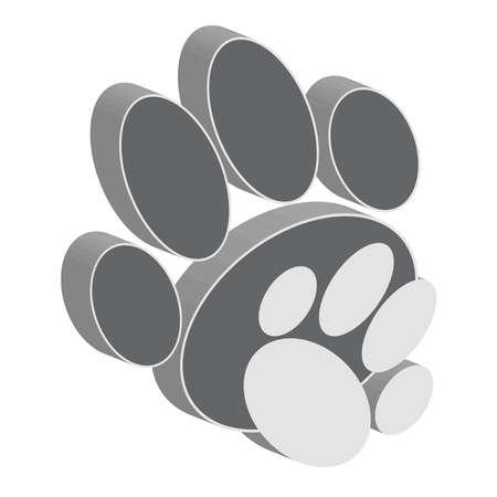 Grey dog paws on white background. Animal symbol.