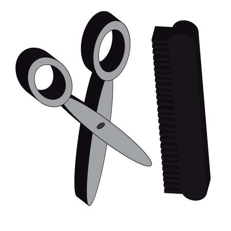barbershop: 3D scissors with comb isolated on white background.Fashion. Vector illustration.