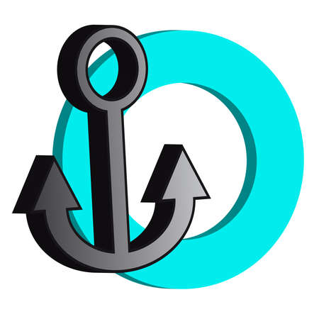 iron: 3D grey anchor with blue ring illustration. Illustration