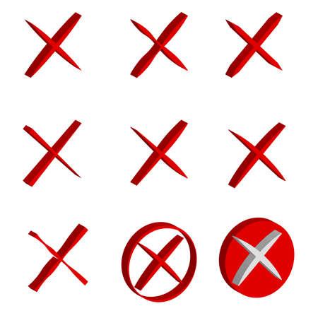 3D cross icons on white background. Vector illustration.
