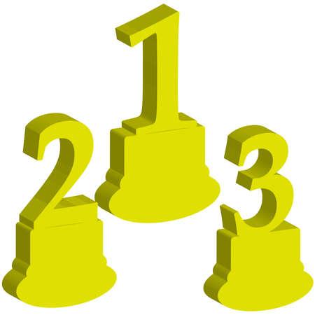 shiny gold: 3D number 1,2,3, award on white background. Vector illustration