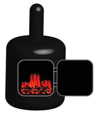 boiler: 3D black coal boiler on white background. Vector illustration. Illustration