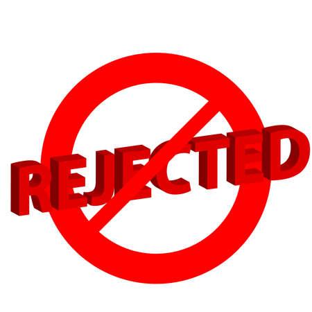 rejected: Rejected symbol on white background. Vector illustration.