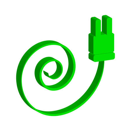 Green electric plug icon isolated on white background. Vector illustration.