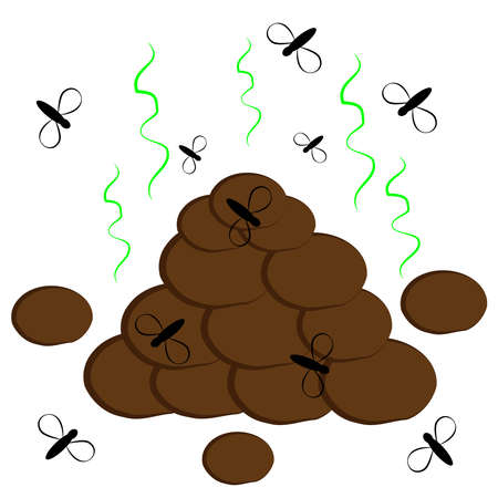 turd: Funny shit isolated on white background. Vector illustration.