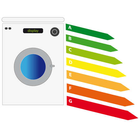 domestic policy: Energy label with washing maschine on white background. Vector illustration.