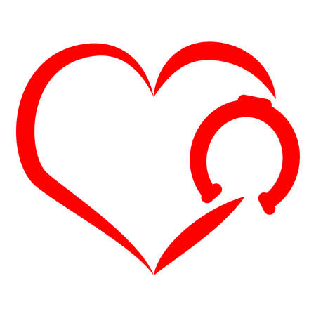 Red horse shoe with heart on white background.Vector illustration.