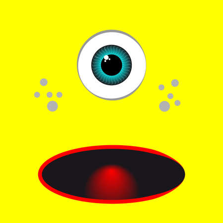 Yellow monster catoon with eye. Vector illustration. Illustration