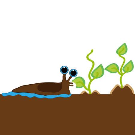 Slug que come la planta aislada en el fondo blanco. Ilustración vectorial Foto de archivo