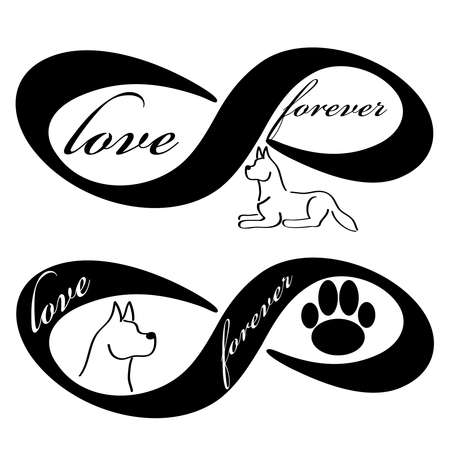 Forever love icon with dog isolated on white background. Vector illustration. 向量圖像