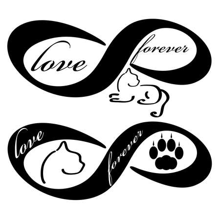 Forever love icon with cat  isolated on white background. Vector illustration.
