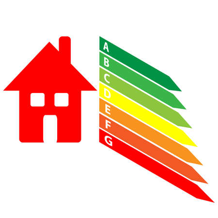 effectiveness: Energy labels with home on white background. Vector illustration