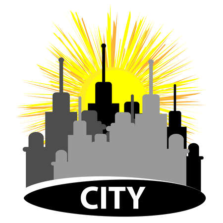 City silhouette with sun isolated on white background. Vector illustration. Illustration
