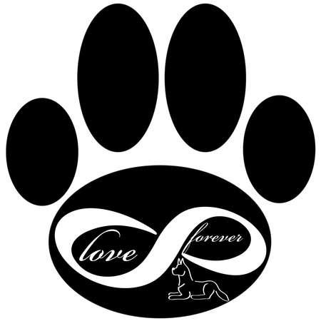 Voor altijd liefde pictogram met hond en poot geïsoleerd op een witte achtergrond. Vector illustratie.