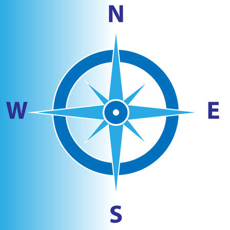 Compass isolated  on blue white background. Vector illustration. Illustration