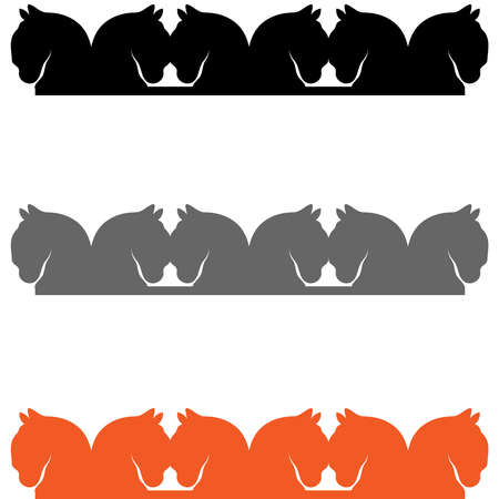 Chain of horses head isolated on white background. Vector illustration.