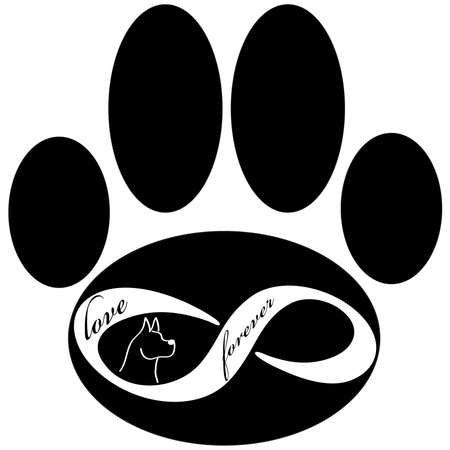 Forever love icon with dogand paw isolated on white background. Vector illustration.