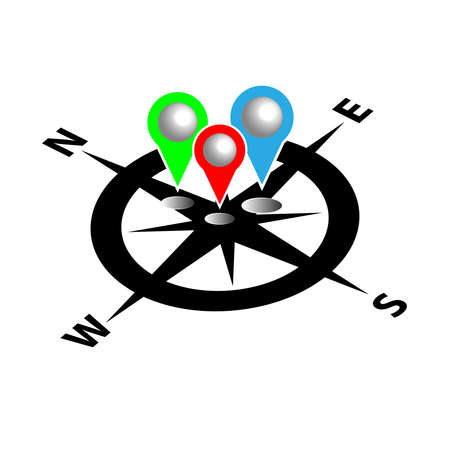 button: Compass with map pin. Infographic. Vector illustration Illustration
