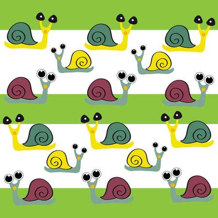 Snails on color background. Vector illustration.