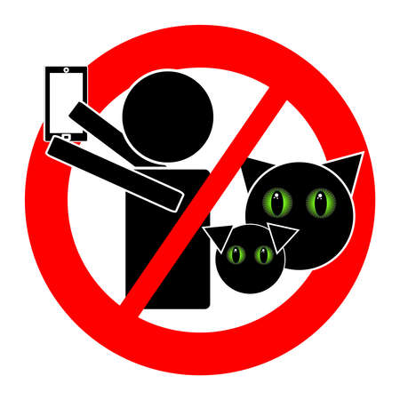 beware: No selfie with animals icon isolated on white background. Vector illustration. Stock Photo