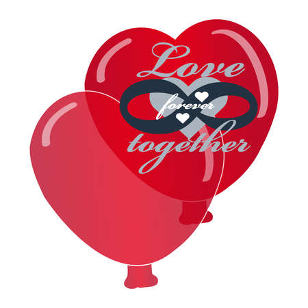 Hearts balloon on white background with text love forever together. Vector illustration. 向量圖像