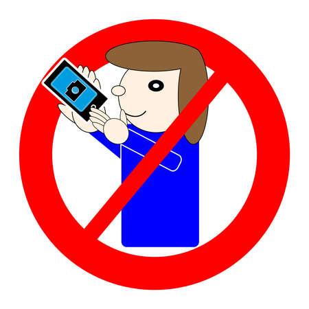 Ningún símbolo del selfie aislado en el fondo blanco. Ilustración del vector