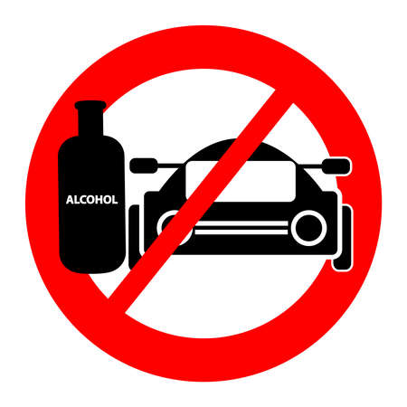 Ban on driving a vehicle with alcohol icon. Vector illustration. Stock Photo