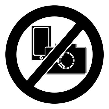 No camera and mobile phone symbol on white background. Vector illustration. Illustration