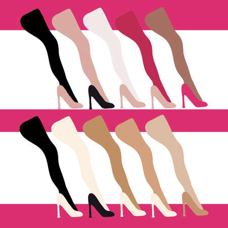 Women shoes and leg on color background. Vector illustration.