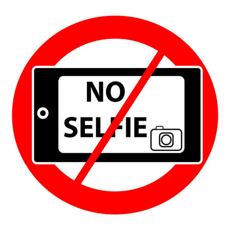 Ningún símbolo del selfie aislado en el fondo blanco. Ilustración del vector.