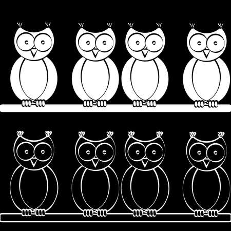 Sitting owls on black background. Vector illustration.