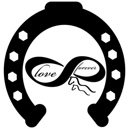 Forever love icon with horse shoe isolated on white background. Vector illustration. 向量圖像