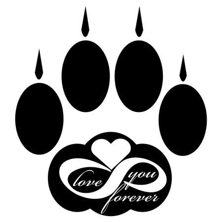 Forever love icon with cat paw  isolated on white background. Vector illustration. 向量圖像