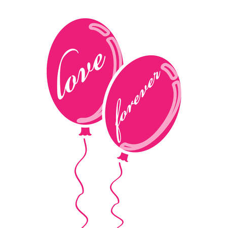 Pink valentine balloons with text isolated on white background. Vector illustration.