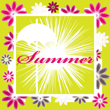 Hello summer image isolated on color background. Vector illustration. Illustration