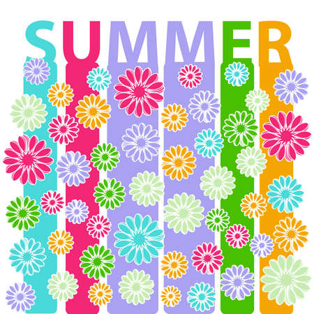 Summer image isolated on white background. Vector illustration.