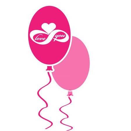 Pink valentine balloons with love icon isolated on white background. Vector illustration. 向量圖像
